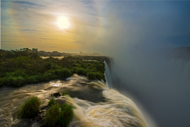 a photo from the top of iguazu falls