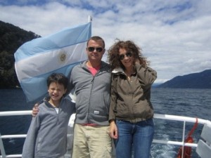 Kieran Rooney and Family on a boat in Patagonia