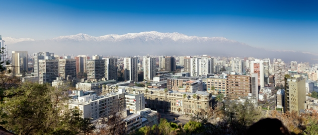 A photo of Santiago Chile with the Andes in the background.