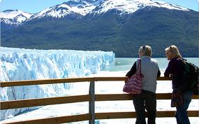 two tourists on a perito moreno glacier tour