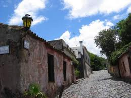a photo of a street in the UNESCO protected town of Colonia in Uruguay.