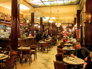 A photo of the famous tango cafe tortoni, in Buenos Aires Argentina.