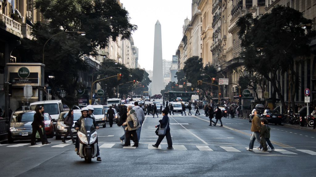 A city street in Buenos Aires, Argentina.